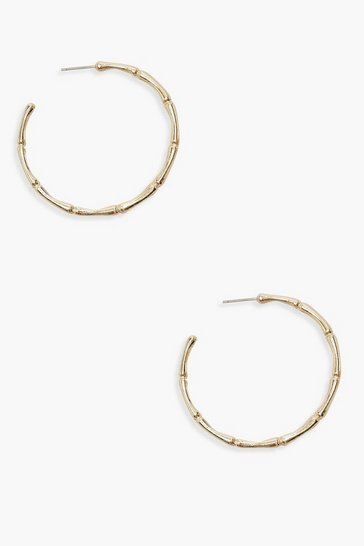 Womens Textured Gold Hoops