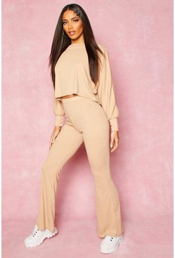 Womens Nude Recycled Batwing Crop & Flares Rib Co-ord