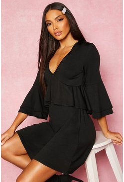 Womens Black Recycled Double Layer Frill Smock Dress