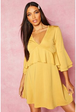 Womens Mustard Recycled Double Layer Frill Smock Dress