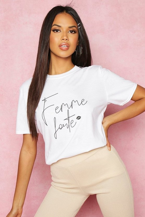 White Recycled Femme Slogan T-Shirt