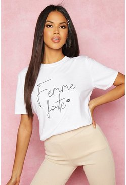 Womens White Recycled Femme Slogan T-Shirt