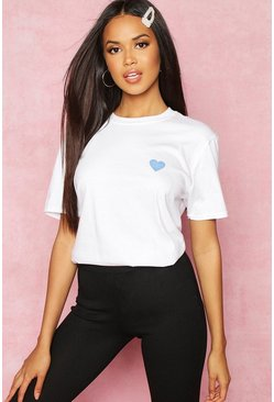 White Recycled French Slogan Heart Pocket Print