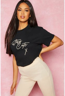 Black Recycled Stay Cute Slogan T-Shirt