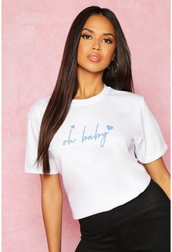 White Recycled Oh Baby Slogan T-Shirt