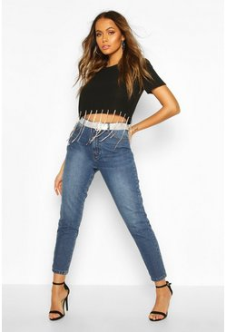 Mid blue High Waisted Mom Jean With Diamante Rhinestone Belt