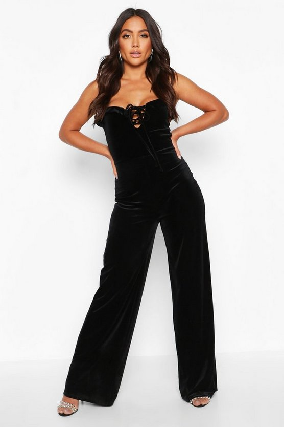Black Velvet Ruffle Shoulder Wide Leg Jumpsuit
