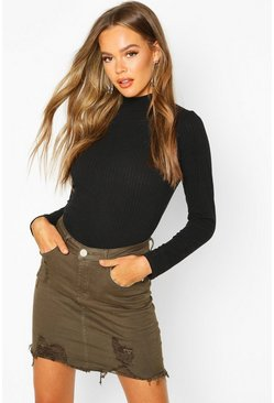 Khaki Power Stretch Distressed Denim Skirt