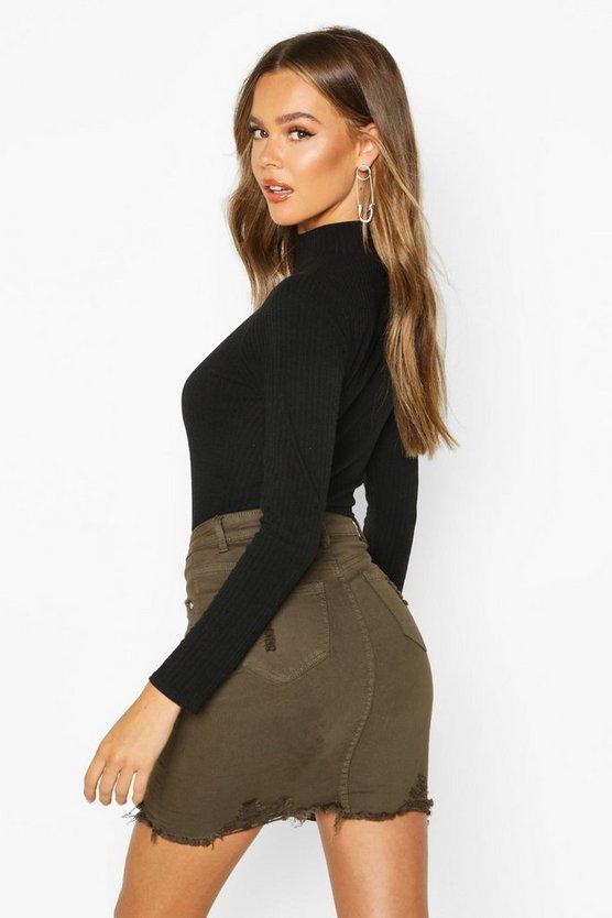 Power Stretch Distressed Denim Skirt