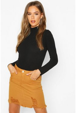 Mustard Power Stretch Distressed Denim Skirt