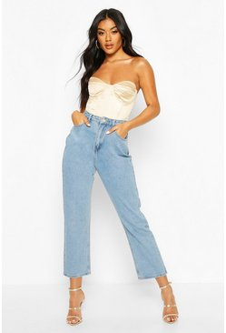 Mid blue High Waist Boyfriend Jean