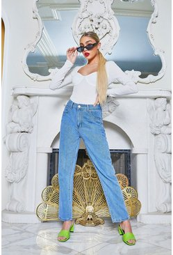 Womens Mid blue High Rise Mom Jeans