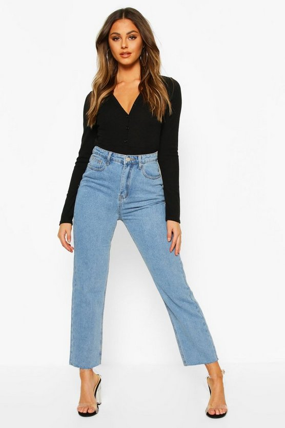 High Rise Straight Leg Raw Hem Jean