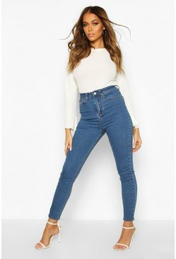 Womens Mid blue High Rise Skinny Jean