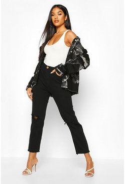 Black High Rise Frayed Hem Distressed Straight Leg Jean