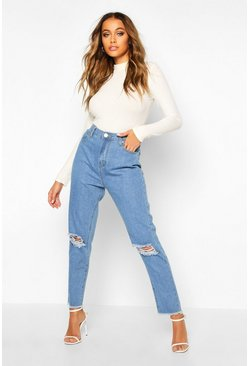 Light blue High Rise Frayed Hem Distressed Straight Leg Jean