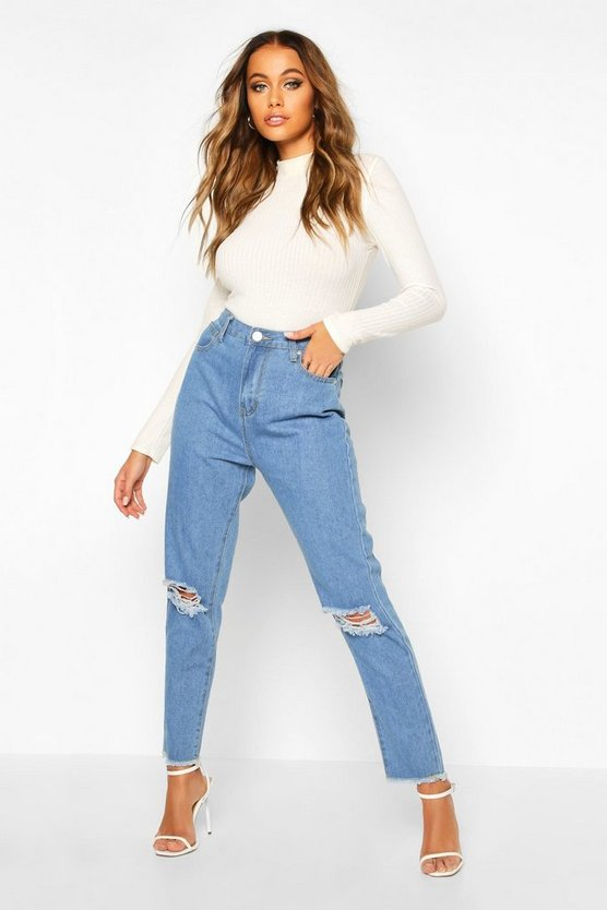 High Rise Frayed Hem Distressed Straight Leg Jean