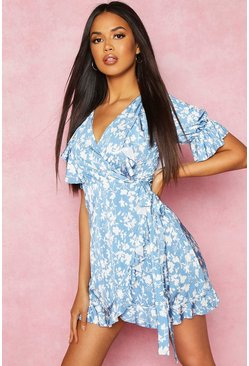 Blue Recycled Floral Print Ruffle Wrap Tea Dress