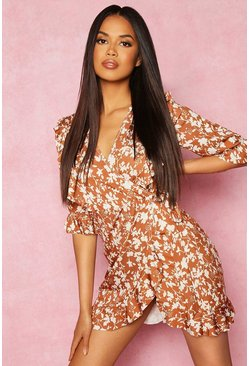 Tan Recycled Floral Print Ruffle Wrap Tea Dress