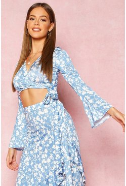 Dam Blue Recycled Floral Print Wrap Crop Top
