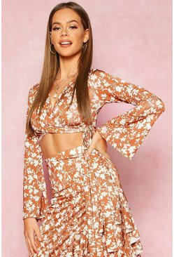 Dam Tan Recycled Floral Print Wrap Crop Top