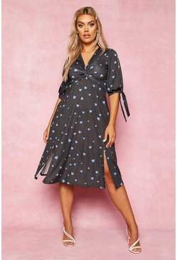 Womens Black Recycled Polka Dot Twist Front Midi Dress