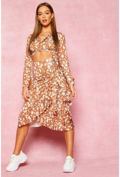 Womens Tan Recycled Floral Print Ruffle Wrap Midi Skirt