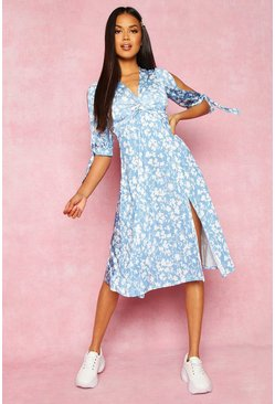 Womens Blue Recycled Floral Print Twist Front Midi Dress