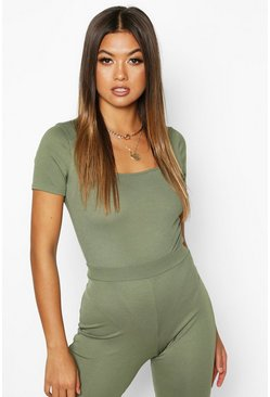 Dam Khaki Rib Knit Square Neck Short Sleeve Bodysuit
