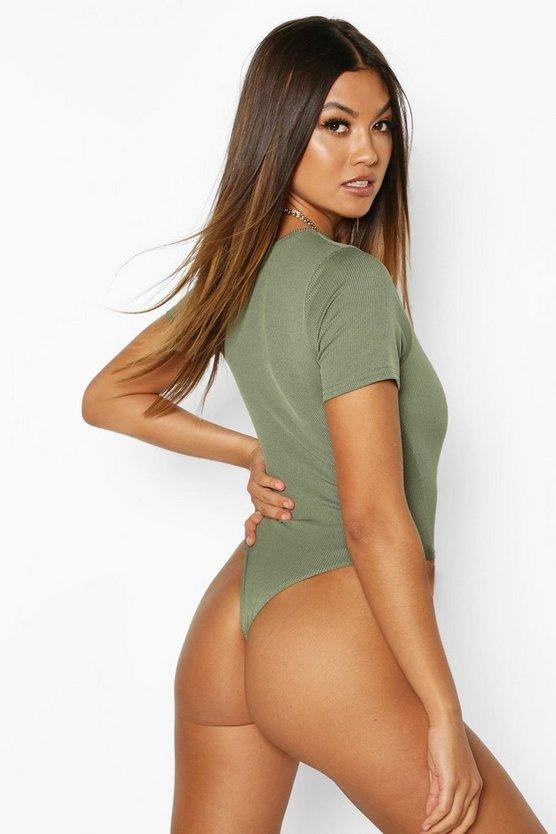 Rib Knit Square Neck Short Sleeve Bodysuit