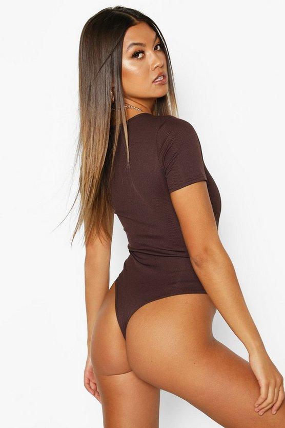 V Neck Short Sleeve Knitted Bodysuit