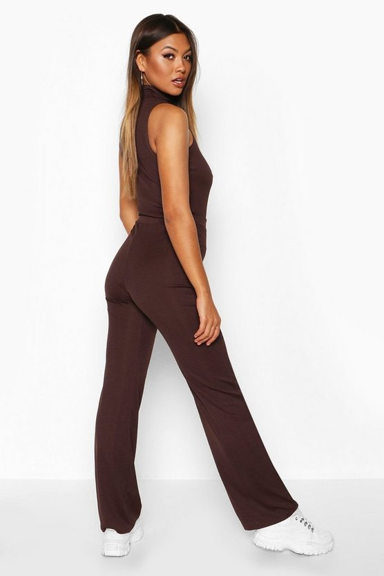 Rib Knit Wide Leg Trouser