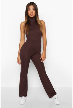 Womens Chocolate Rib Knit Wide Leg Trouser