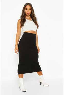 Womens Black Rib Knitted Midaxi Skirt