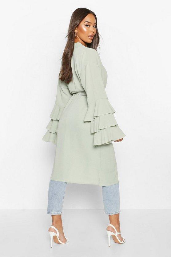 Ruffle Sleeve Midi Kimono