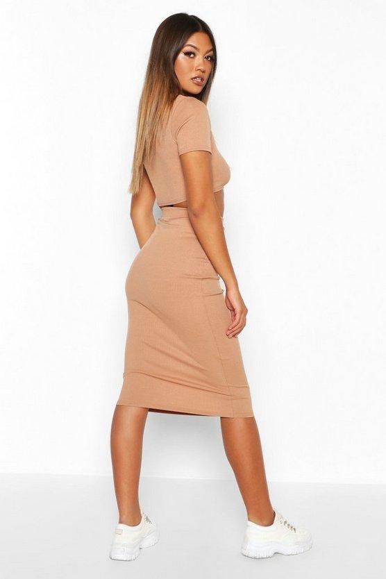 Rib Knit Midi Skirt
