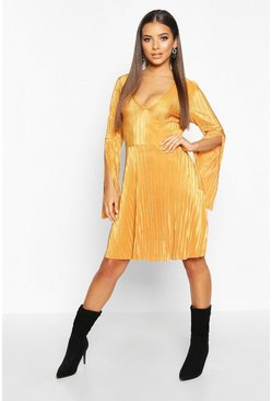 Mustard Plisse Pleated V Neck Frill Hem Skater Dress