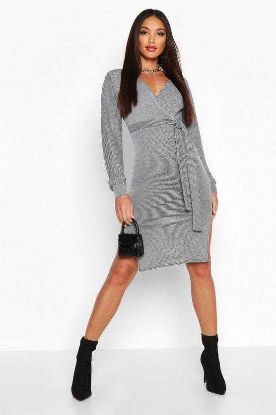 Rib Off The Shoulder Midi Dress