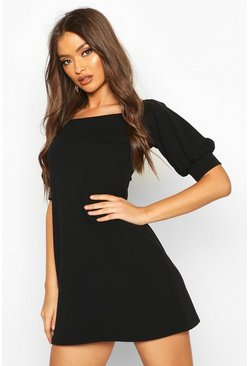 Womens Black Square Neck Puff Sleeve Shift Dress