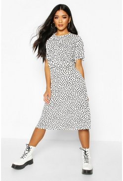 White Dalmation Curved Waist Skater Dress