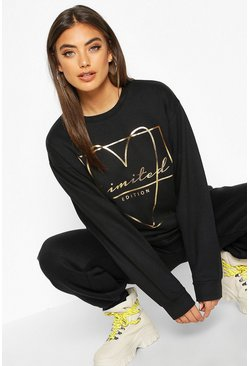 Dam Black Foil Print Love Heart Slogan Sweat