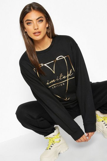 Womens Black Foil Print Love Heart Slogan Sweat
