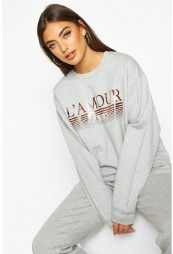 Womens Grey French Slogan Foil Print Sweat