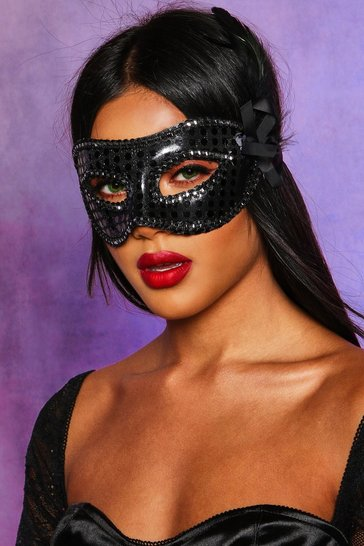 Womens Black Halloween Face Mask With Feather & Ribbon