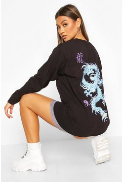 Womens Black Oriental Dragon Long Sleeve T-Shirt