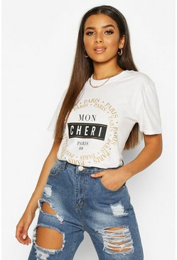 Dam White Mon Cheri French Slogan T-Shirt