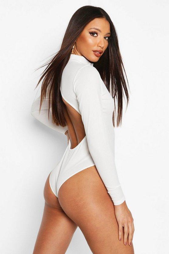 High Neck Open Back Bodysuit