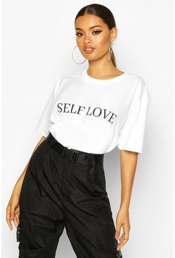 Dam White Self Love Slogan T-Shirt