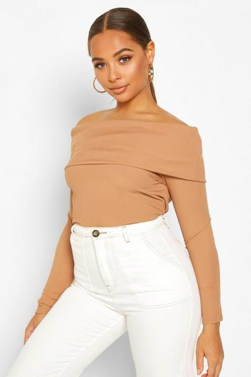 Womens Camel Deep Off The Shoulder Top