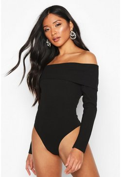 Womens Black Crepe Long Sleeve Off the Shoulder Bodysuit